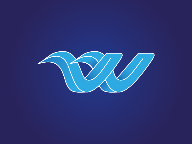 W // Water Sports Logo Concept blue brand waves identity branding vector lettering type icon design logo