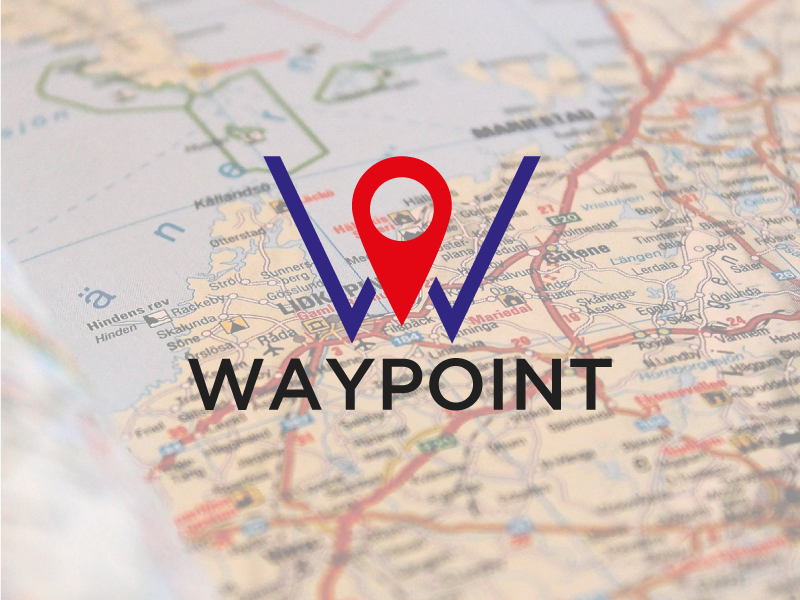 Waypoint Logo Concept letter navigation lettering type branding vector icon typography design logo