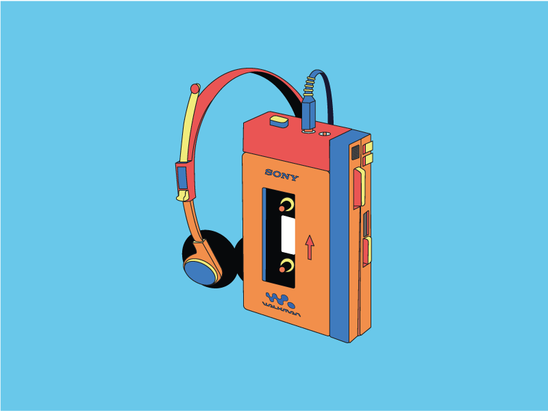Retro Walkman Illustration minimal illustration retro illustration vector illustration minimal flat retro design vector illustration