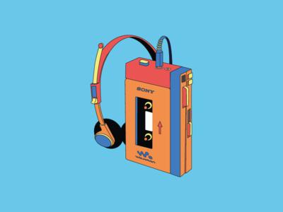 Retro Walkman Illustration