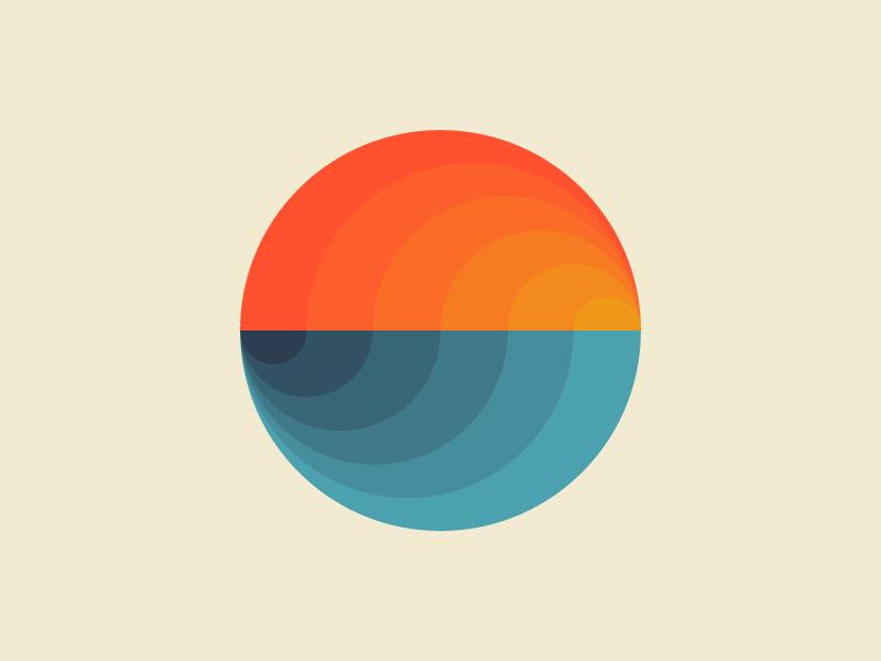 Sunset over water. minimal illustration minimal gradient sunset flat retro design vector illustration