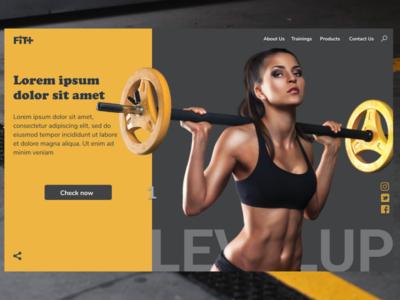 FIT+ fresh colors fresh design mackbook figmadesign gym landingpage webdesigns modern trends 2020 trending uiux grey yellow webdesign website fitness 2020 design figma