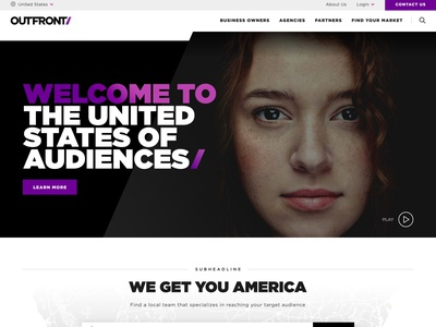 Outfront Website Redesign landing page home page purple billboards outfront iconography typography interactive web design ui design