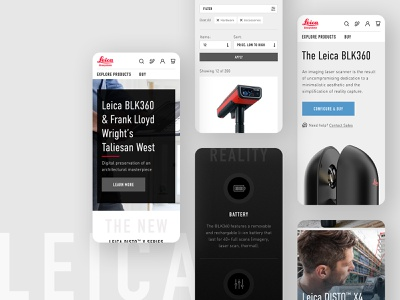 Leica Mobile UI product leica ecommerce homepage ux ui design website responsive mobile