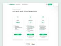 CakeResume Pricing Page cookie resume cake outline card price table illustration web ui pricing