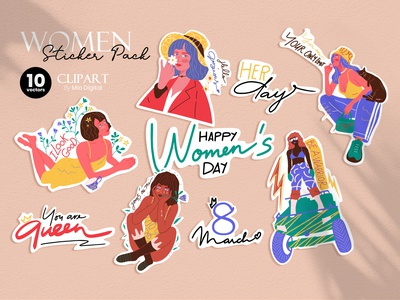 Women Empowerment Sticker Pack - 8 March Happy Women's Day sticker illustration cartoon sticker vector illustration hashtag girl sticker women illustration body positive feminist lettering stickers hand drawn sticker inspirational quote quote for women girl illustration women vector illustration happy women day sticker pack 8 march icon women empowerment women sticker