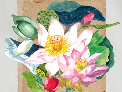 Hand-drawn Watercolor Lotus Flower wedding invitation watercolor flower hand painting floral asian flower drawing watercolor lily watercolor lotus invitation flower lotus green leaf lotus element flower arrangement water lily clipart lotus flower clipart