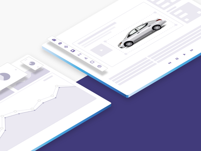 Isometric Graphics app interface car illustration 2.5d website graphics isometric