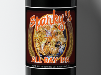 Sparky's All Day IPA packaging beer bottle label