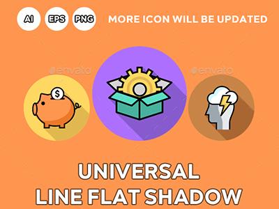 Universal Line Flat Shadow Icons