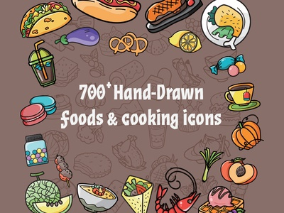 700 Food Cooking Hand-Drawn Icons