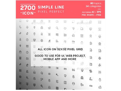 Simple Line Pixel Perfect Icons simple line icons pixel icons mobile app icons minimal thin line material line icons material icon bundle material design icons line icons line icon bundle ios icons bold line icons android icons