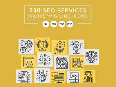 SEO Marketing Line Icons