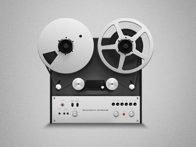 Vintage Reel-to-Reel recorder illustration icon studio