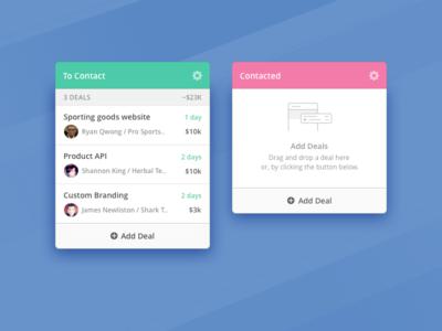 CRM Deals Management app deal profile manage kanban crm ui design