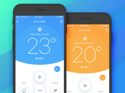 Smart Thermostat Control iphone thermostat app design mobile ios