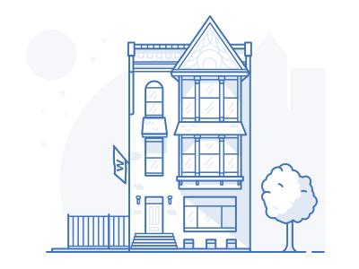 Chicago Love flat building illustration house 2d