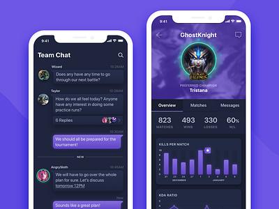 ArenaCrew mobile preview gaming ui dark app ios mobile