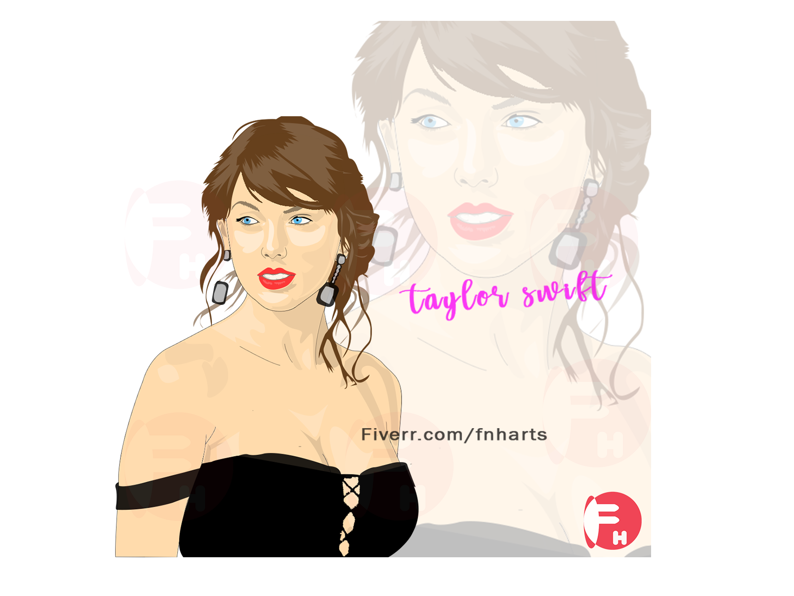 Taylor Swift Cartoon Portrait By Fnharts By Fnharts On Dribbble