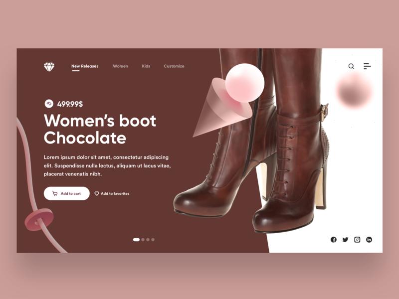 Women's Boot Chocolate Landing Page landing page design landing design landing page site design website design website branding ui  ux uiux ux ui design ui design