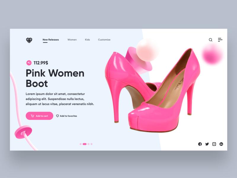 Pink Women Boot Landing Page landing design landing page website design website branding ui  ux uiux ux ui ui design design
