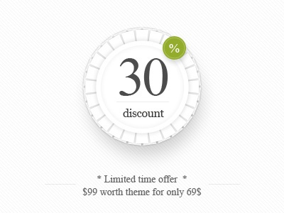 """30% discount - """"Luxury"""" Magento Theme discount ribbon magento light call to action"""