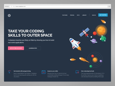 Codeplace Homepage development courses education front-end landing page ui design homepage