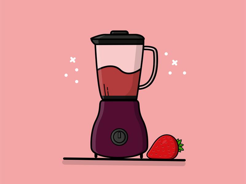 Blender Strawberry strawberry blender illustrator vector design illustration