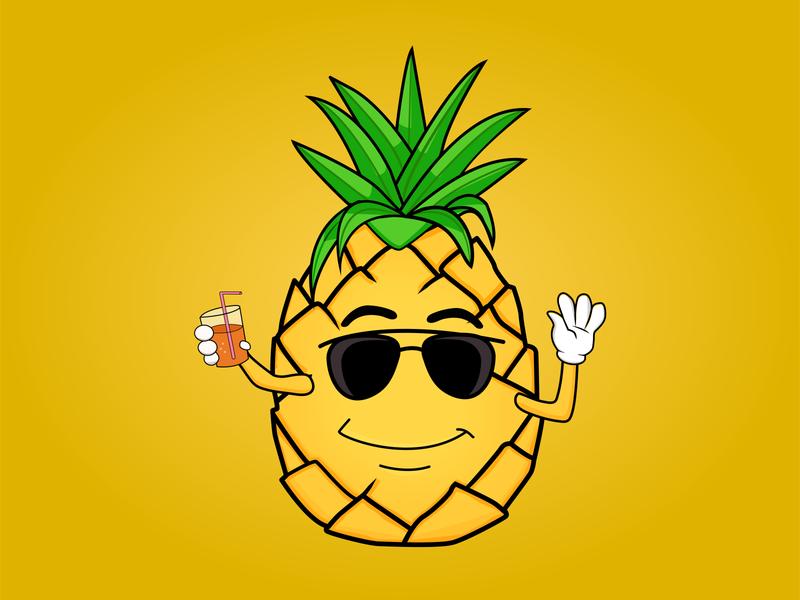 Pineapple cartoon illustrator vector branding logo illustration design