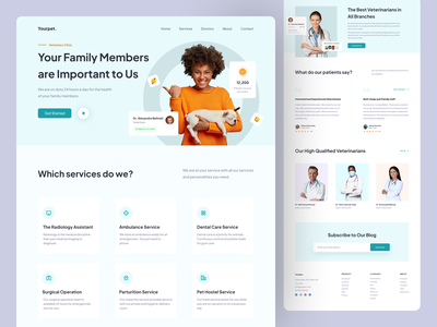 Veterinary Clinic Landing Page landing page design landing page landing pet clinic veterinarian veterinary web design card web ux design ui design design clean ux ui