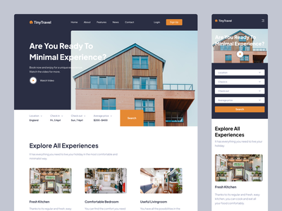 Travel Landing Page landing landing page design landing page booking tiny house travel web design web clean ux design ui design design ux ui