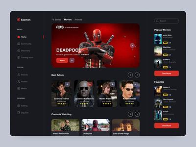 Movie Dashboard Design platform imdb tv shows tv series film hbo dashboard dashboard ui dashboard design web design web clean ux design ui design design ux ui