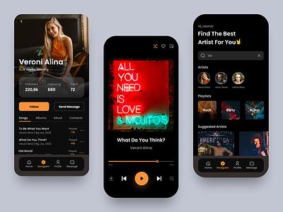 Music App Design streamer stream rock music player music app music black app design application mobile design mobile app mobile ui mobile app clean ux design ui design design ux ui
