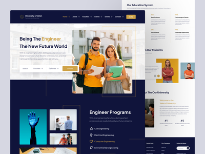 University Landing Page website engineers engineer website design university landing page design landing page landing web design web clean ux design ui design design ux ui