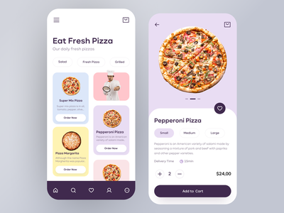 Pizza Delivery App Design pastel color pastel delivery app delivery pizza application app design mobile design mobile app design mobile ui mobile app mobile app clean ux design ui design design ux ui