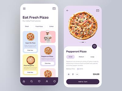 Pizza Delivery App Design pastel color pastel delivery app delivery pizza application app design mobile design mobile app design mobile ui mobile app mobile app clean ux design ui design design ux ui