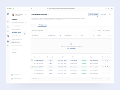 Documents Details Page side menu space white clean dashboard design dashboard ui dashboard ux ui tag lable document management select box list drop cap drop documentation documents documentary document