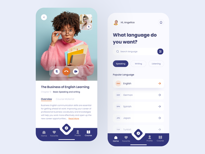 Language Course App / Course and Home Pages app home page teaching teacher teach video call video chat chat overview english listening writing speaking course app language learning language school language app languages language course