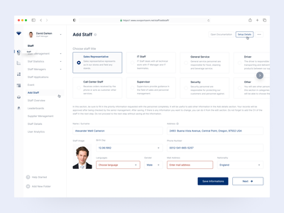 Dashboard / Add Staff Page member personnel personal employee recruiting information dashboard design dashboard ui dashboard side menu cv design cv profile choose title work staffing staff add new add