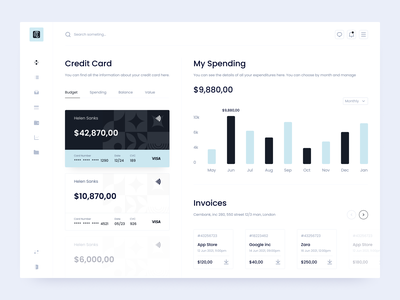 Banking Dashboard Design web ui design ux ui clean green white black invoice balance spending budget dashboard design dashboard credit card credit card bank banking
