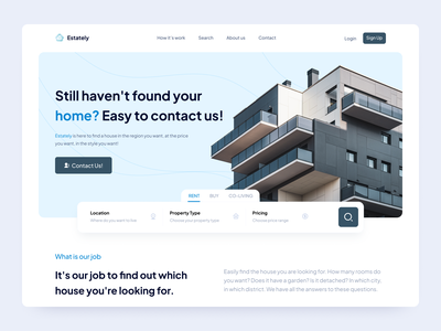 Real Estate Agent Landing Page clean ui design ux ui green blue search buy rent building real estate agent real estate estate landing landingpage design landing page landingpage