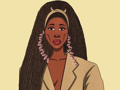 Aweng braids portrait illustration illustration
