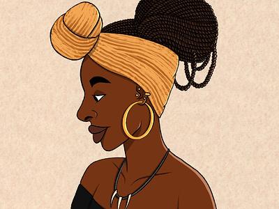 Bisola twists portrait illustration