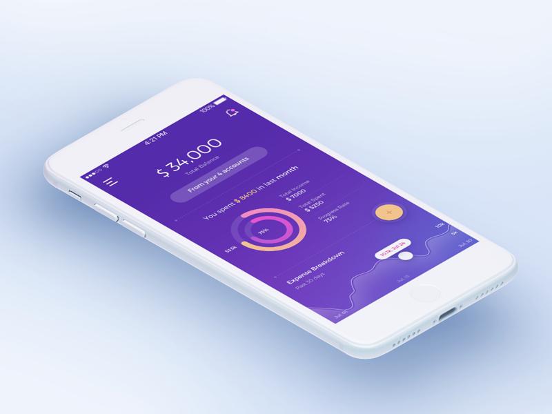 Expense Manager Dashboard Concept gradient design data interpretation gradient graph expense manager ui design ui iphone ios app mobile dashboard