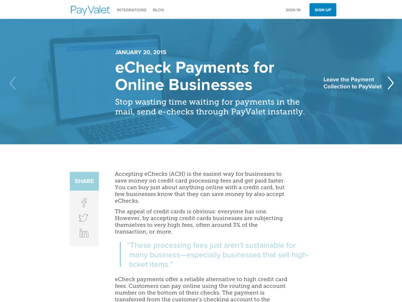 Payvalet blog page