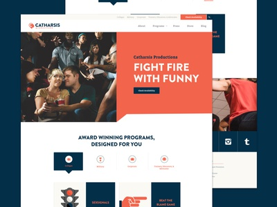 Catharsis is Live! homepage launchpad lab mockups marketing agency icons illustration web