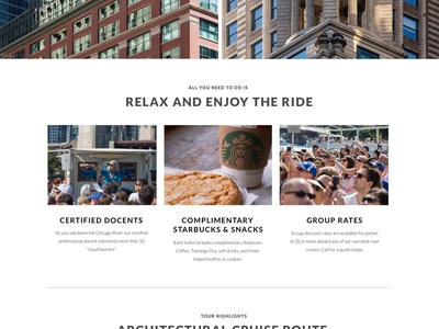 Architectural River Cruise tickets boat tour agency marketing mockups launchpad lab web