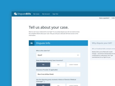 DisputeBills Submit a Case dispute bills launchpad lab form healthcare app ui