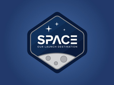 Space Magnet badge icon illustration stars moon space magnet launchpad lab