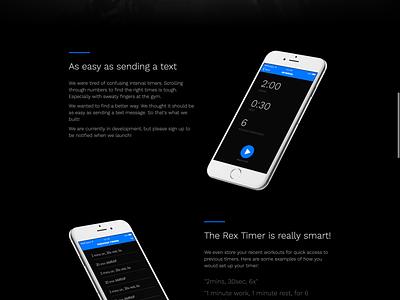Rex Timer Landing Page fitness dark theme mobile web design launchpad lab app landing page